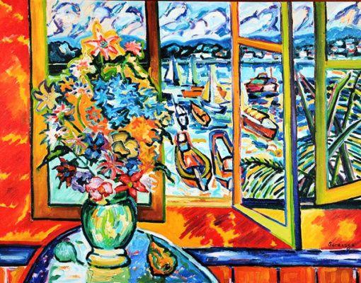 Vaso de flores com janela ao fundo Carlos H. Sorensen (Brasil, 1928-2008) óleo sobre tela, 70 x 90 cm