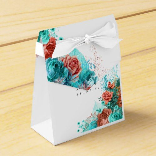 Turquoise and Coral Tropical Wedding Guest Thanks Favor Box | Zazzle.com #turquoisecoralweddings