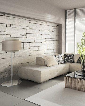 Origineel fotobehang met witte onregelmatige stenen in modern ...