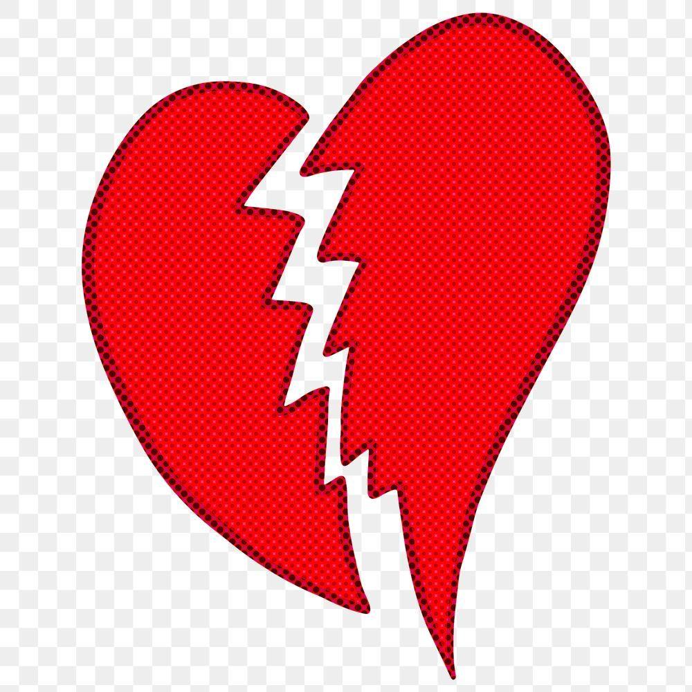 Halftone Red Broken Heart Sticker Overlay Design Resource Free Image By Rawpixel Com Ningzk V In 2020 Heart Stickers Halftone Overlays