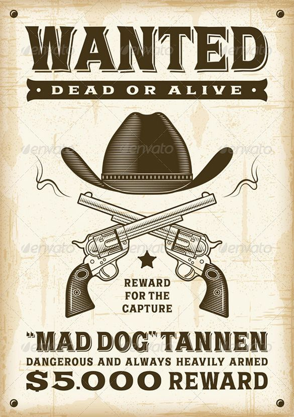 14+ Western Wanted Poster – Free Printable, Word, PDF, PSD, Vector ...