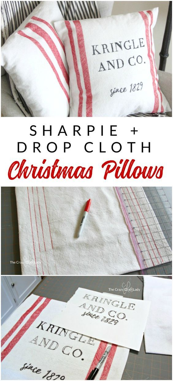 DIY Christmas Pillows - Easy Canvas Pillows made from Dropcloths - The Crazy Craft Lady