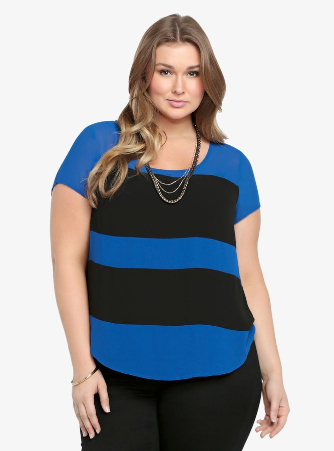 Torrid Colorblock Chiffon Top/add a pop of color