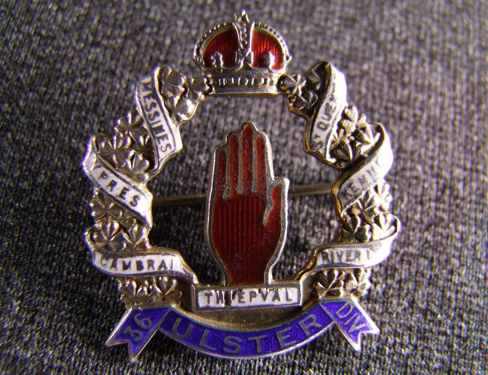 Rare 36th Ulster Division sweetheart brooch Hallmarked c1918, £700