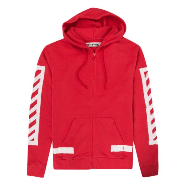 0aa1236c78b8 Off White Red Hoodie Striped Print - FW16 Collection ( 250) ❤ liked on  Polyvore featuring tops