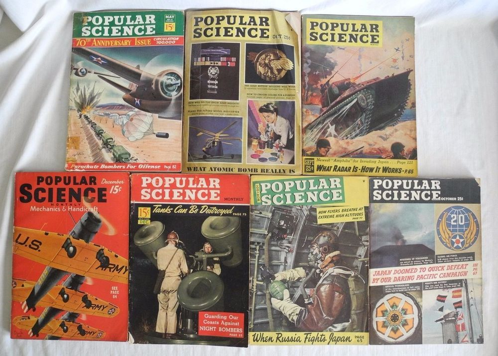 Vtg Popular Science WWII Magazines 1939-45 Air Force Military Cigarette Ads