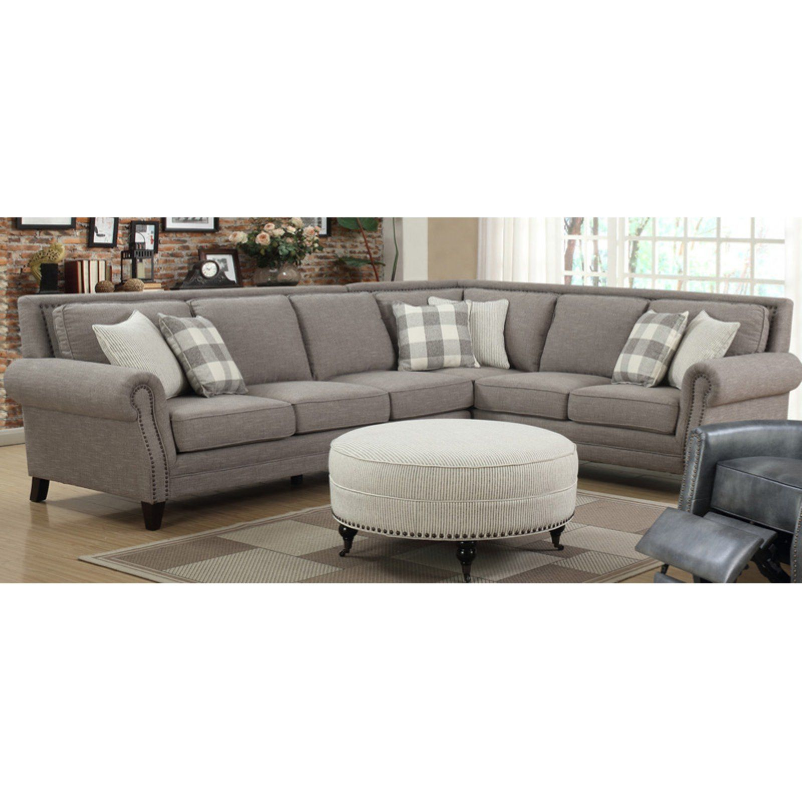 Emerald Home Willow Creek 2 Piece Sectional Sofa Nailhead