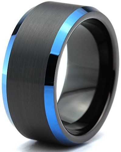 Chroma Color Collection Tungsten Wedding Band Ring 10mm For Men Women Black Blue Beveled Edge Brushed Black Tungsten Rings Tungsten Ring Legend Of Zelda