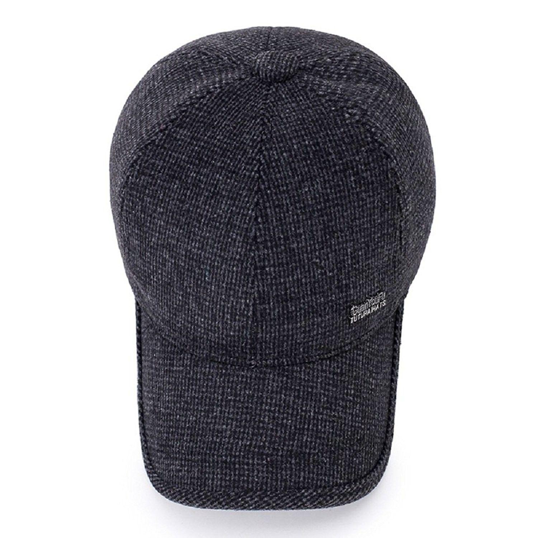 c5f108886de Men s Winter Warm Wool Woolen Tweed Peaked Baseball Cap Hat With ...