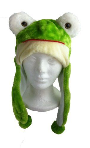 2ba3c90b6c6 Animal Hat Kids - Children s Size with Ear Covers and Fleece Lining (Green  Frog)