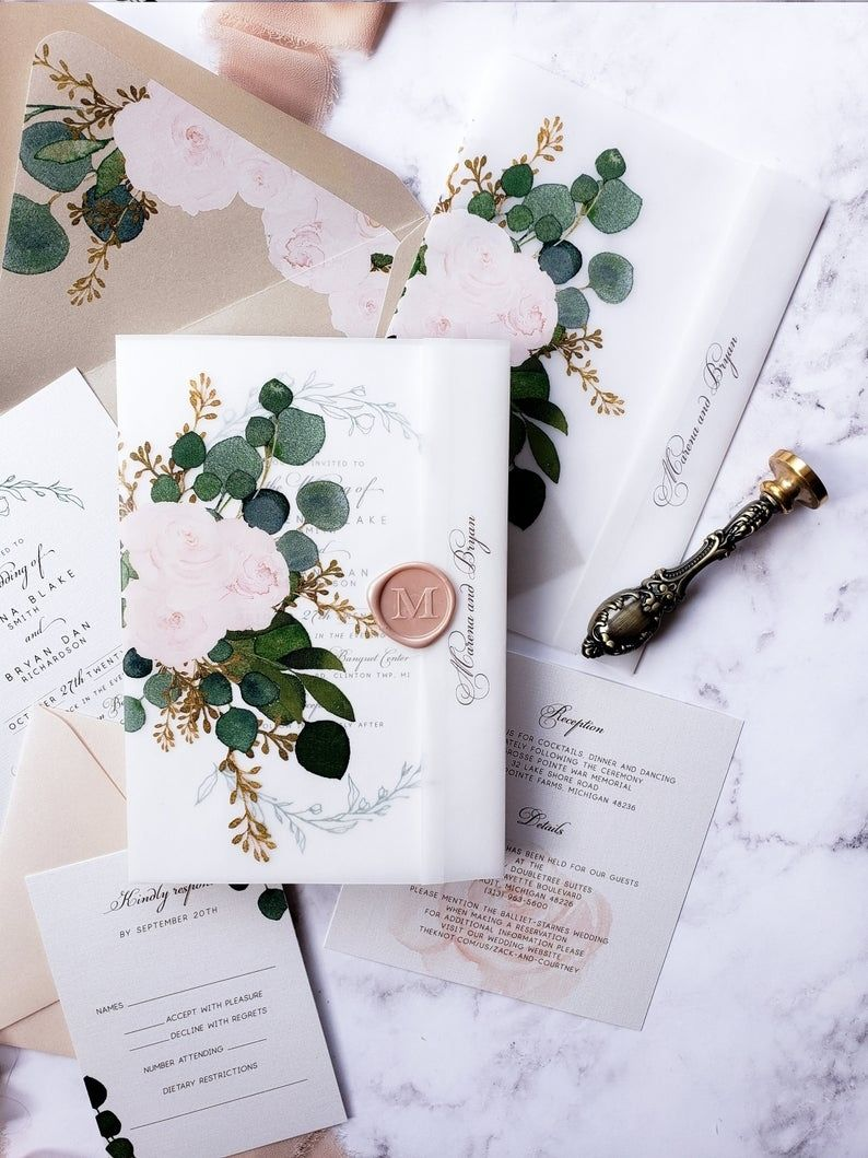 How To Create An Unique And Affordable Wedding Invites With Vellum Paper In 2020 Floral Envelope Liner Affordable Wedding Invitations Wedding Wraps