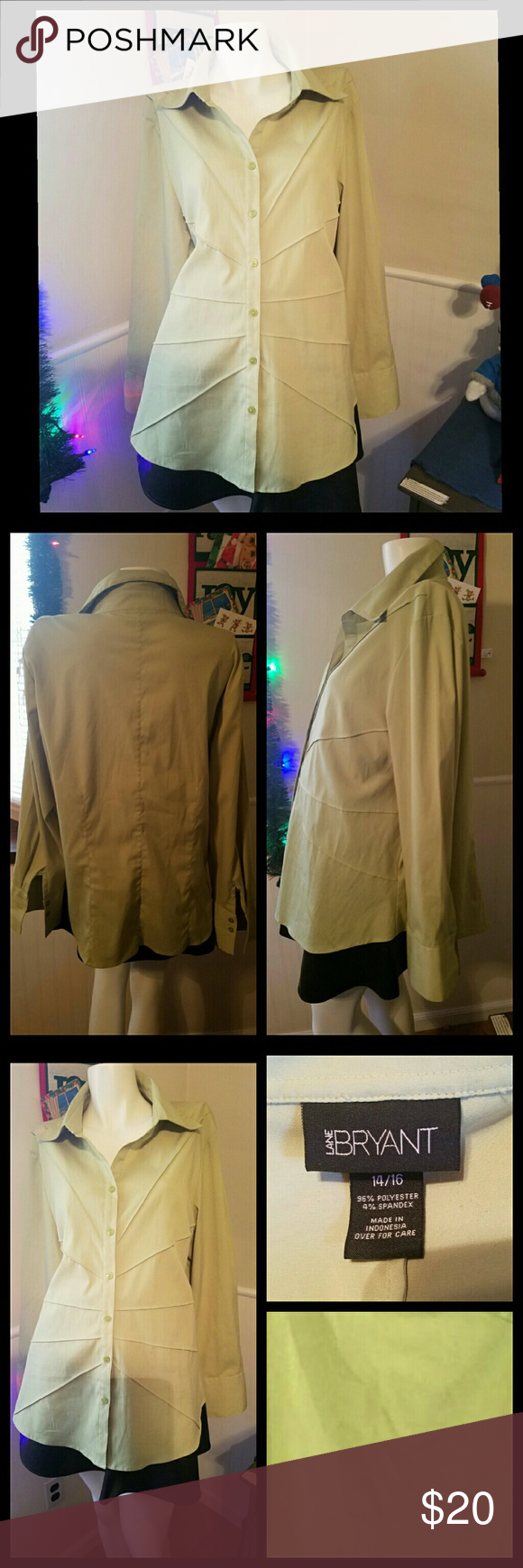 """A Pop of Color Lime green button down. Photos don't do the color justice. Good condition. Last photo shows an example of the actual color.   Measurements Bust 40-42"""" Waist 34-36"""" Hip 42-44"""" Inseam length 14.5"""" Length from shoulder to bottom 27"""" Lane Bryant Tops Button Down Shirts"""