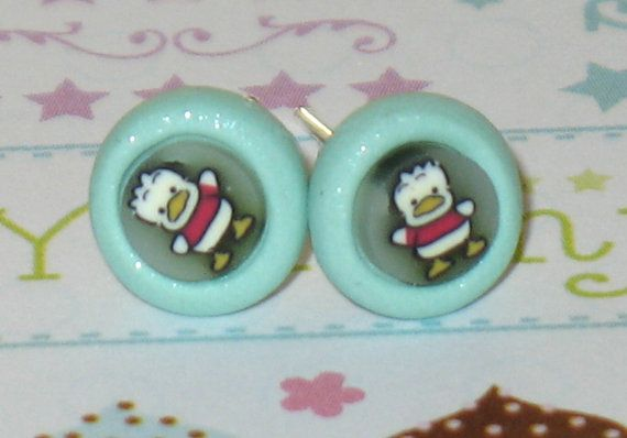 Howie The Duck Stud Earrings 7mm Polymer Clay by DIYArtMart