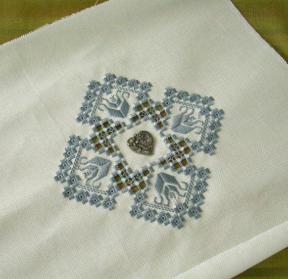 Blue Hardanger Embroidery by nitebyrd on Etsy, $22.00