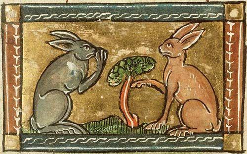 Un conejo burlándose de otro. Koninklijke Bibliotheek, KB, KA 16, folio 53r http://bestiary.ca/beasts/beastgallery4483.htm#