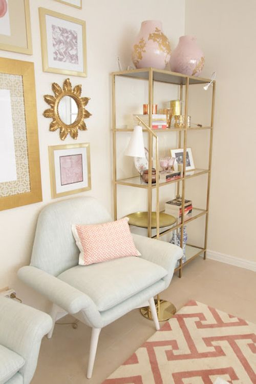 how cute are these gold shelves such a great ikea hack. Black Bedroom Furniture Sets. Home Design Ideas
