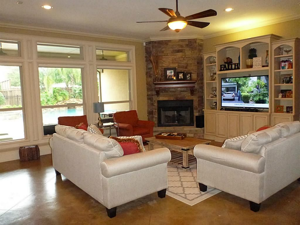 Living room design with stone fireplace - Find This Pin And More On Remodeling Family Room Ideas Corner Stone Fireplace