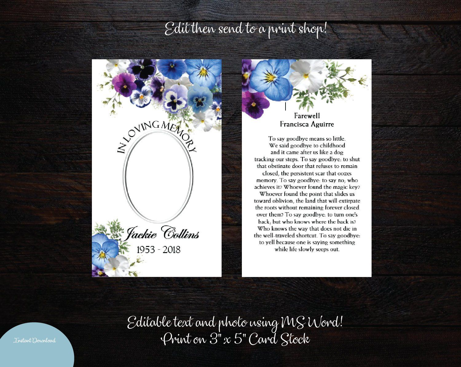 Printable Funeral Prayer Card 3x5 Memorial Prayer Card ...