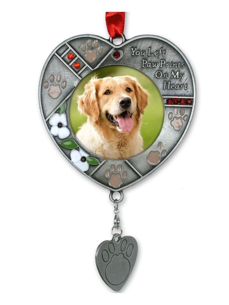 Dog photo memorial ornament with engravable dog tag pet