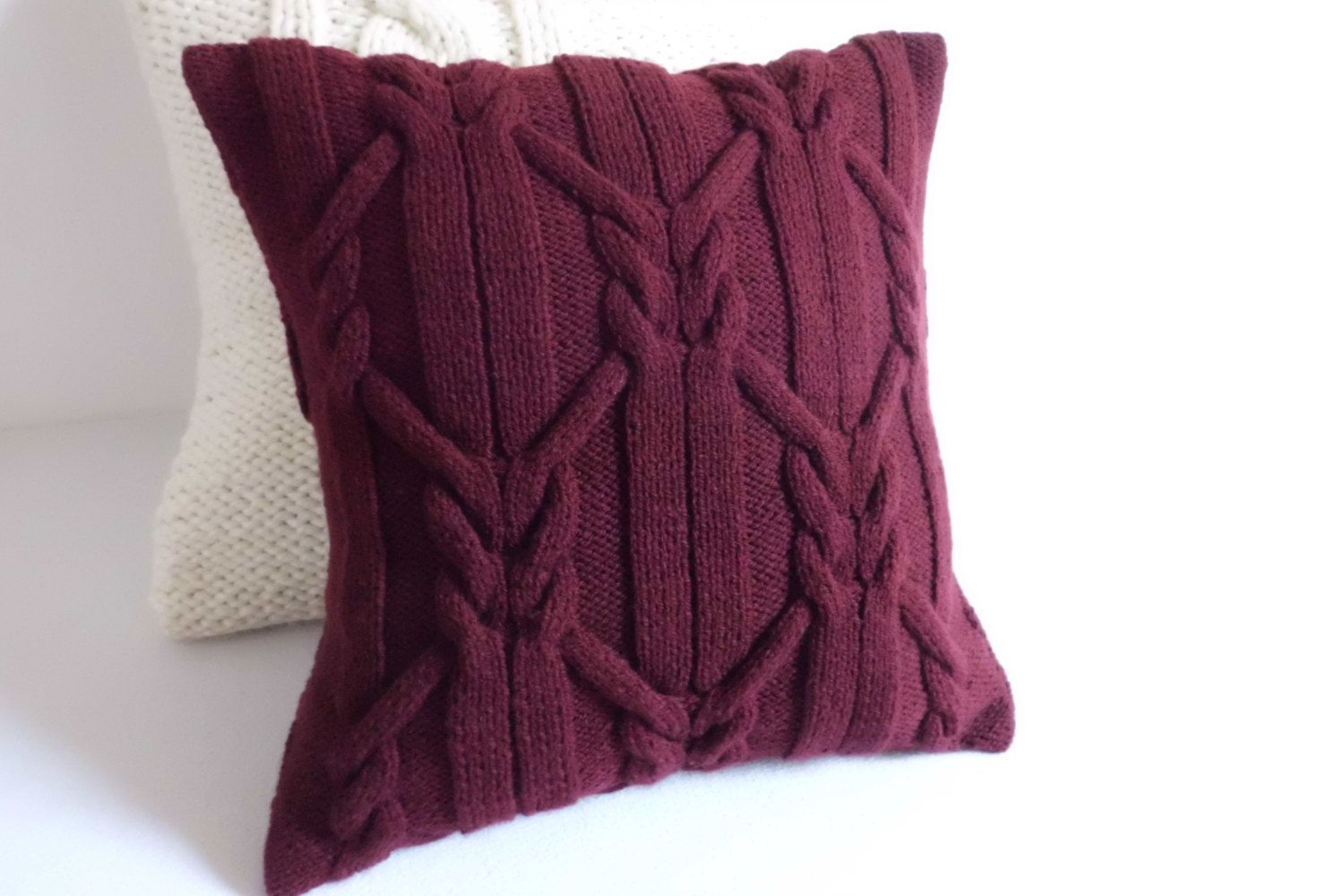 Marsala Cable Knit Pillow Cover Wine Hand Knit Pillow Case Etsy Knitted Cushion Covers Knitted Cushions Knitted Throws