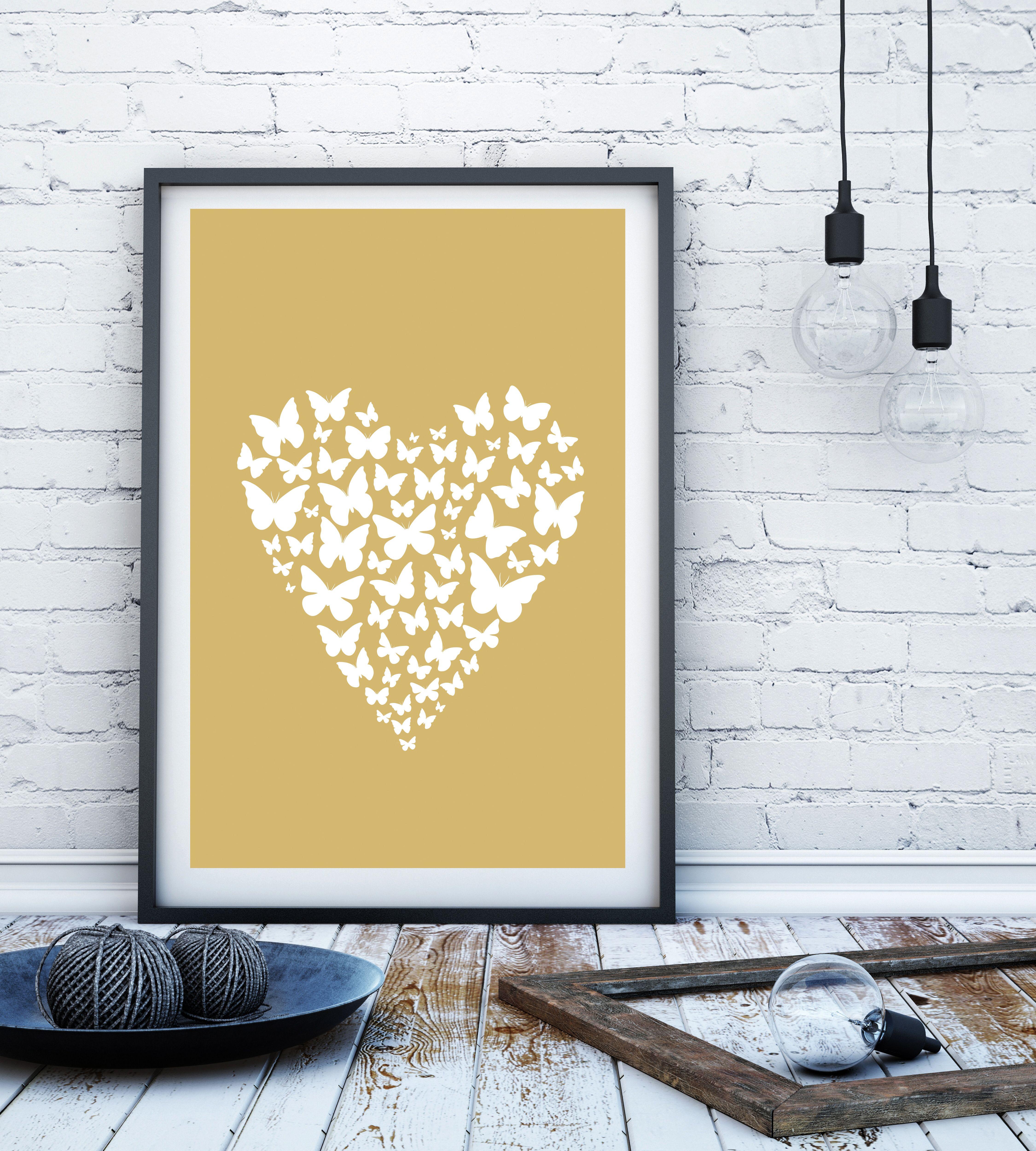 Neutral butterfly heart minimalist print Scandi print minimalist ...