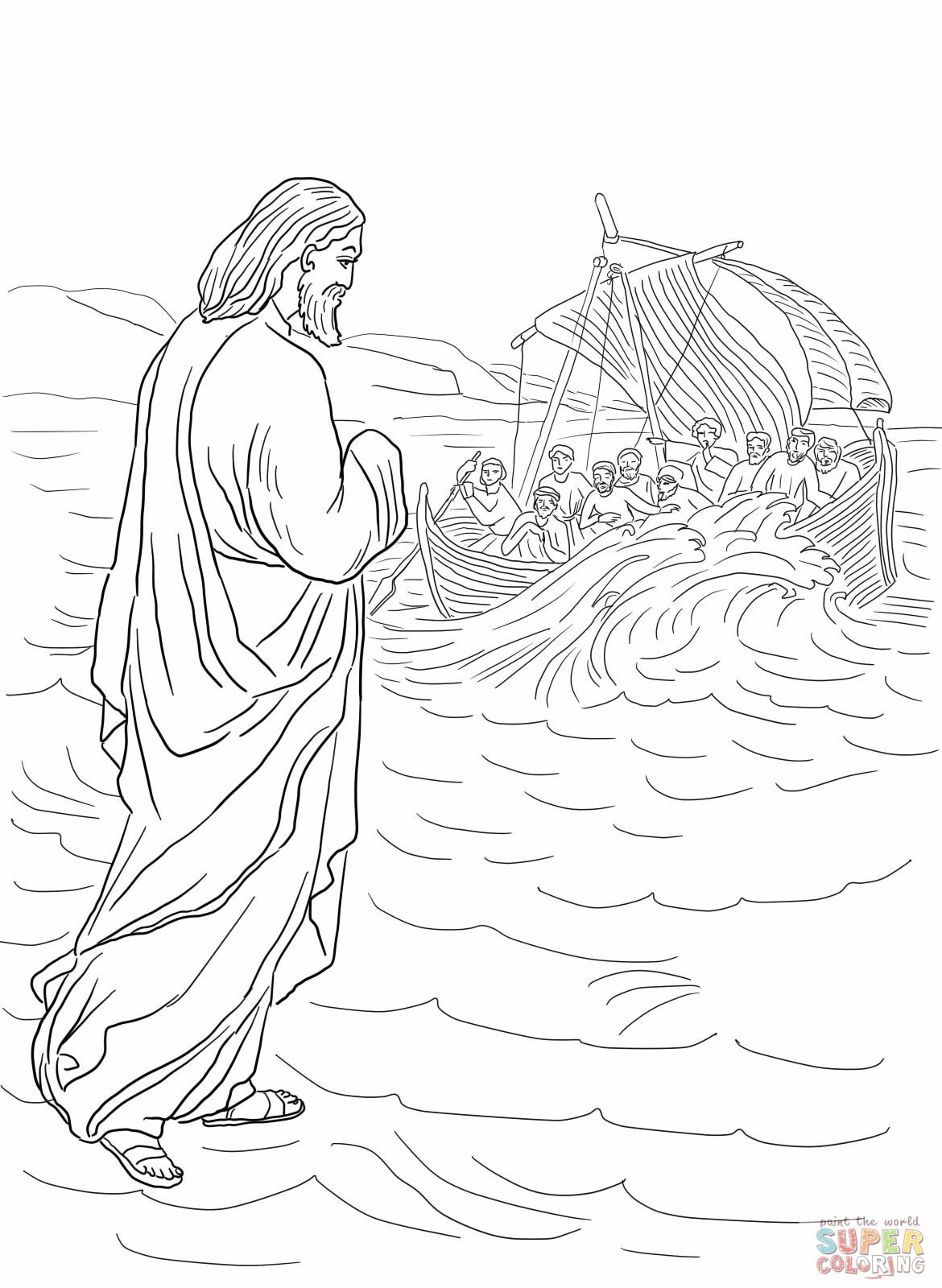 Jesus Walking On The Water Coloring Page From Mission Period Category Select 27237 Printable Crafts Of Cartoons Nature Animals Bible And Many