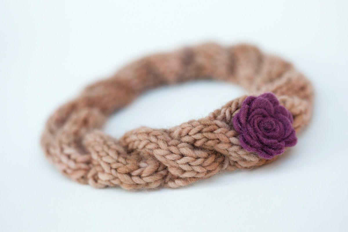 Newborn headband with felt flower - deep violet,  rosy brown - Cozy Collection. $22.00, via Etsy.