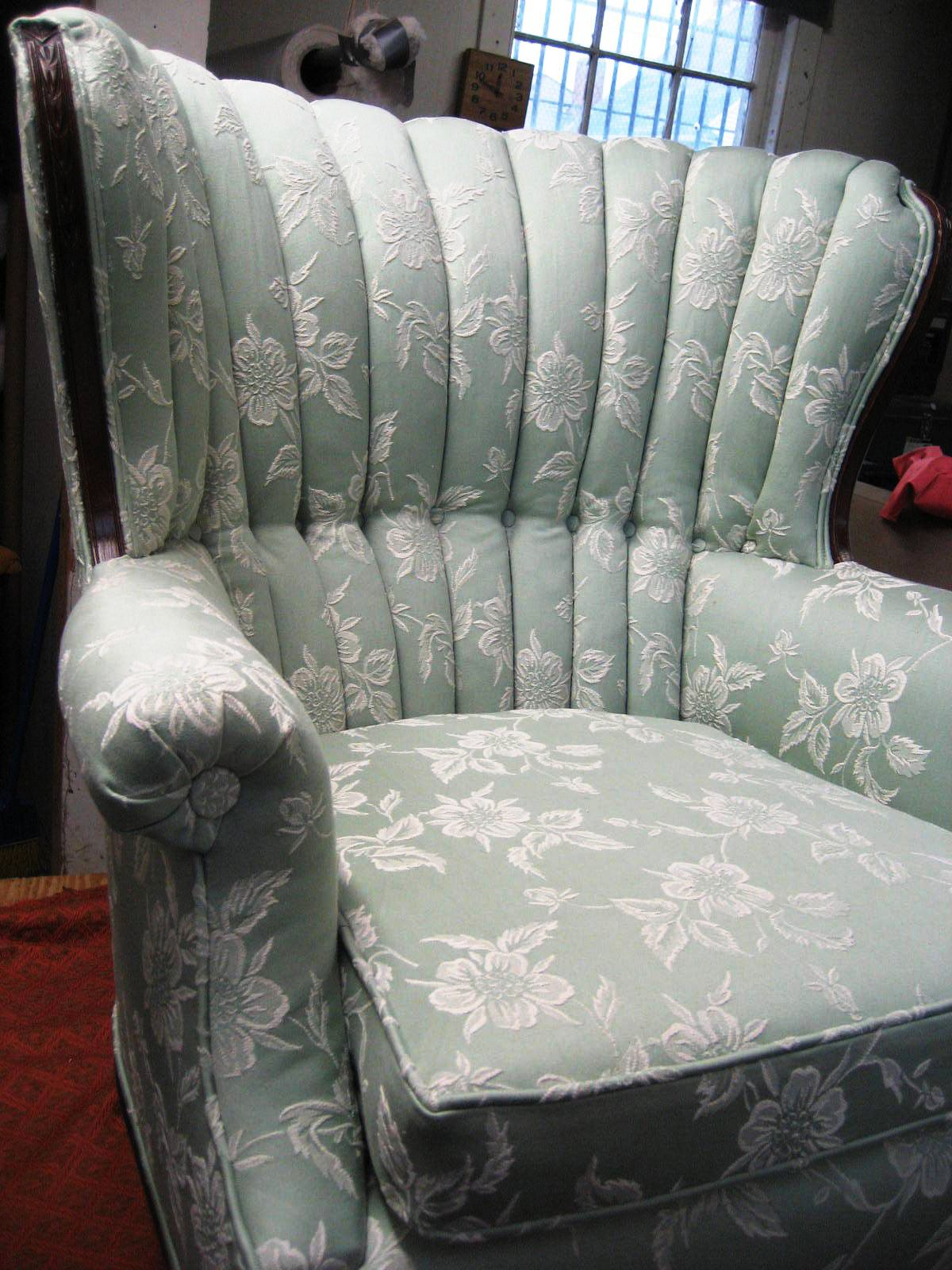 Reupholstered Channel Back Chair. Work Done By Blawnox Upholstery