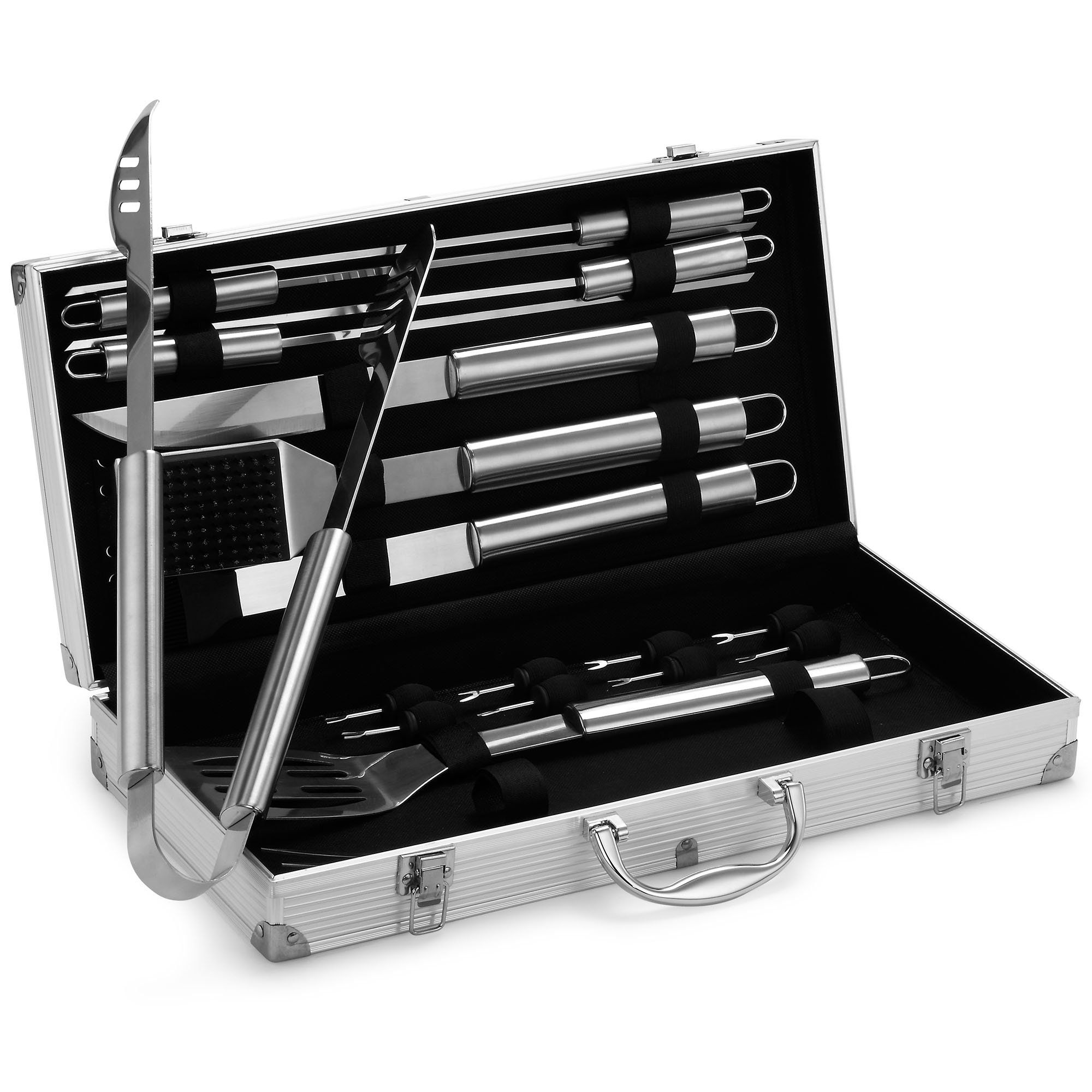 Vonhaus 18 Piece Stainless Steel Bbq Accessories Tool Set Includes Aluminum Storage Case For Barbecue Grill Utensils
