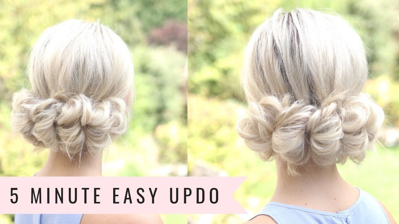 5 Minute Updo No Heat By Sweethearts Hair Youtube Messy Short Hair Easy Updo Hairstyles Hair Lengths