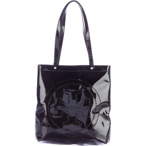 Pre-owned Tory Burch Perforated Patent Leather Tote ($145) ❤ liked on Polyvore featuring bags, handbags, tote bags, black, tote handbags, patent leather tote bag, zipper tote, zip tote bag and tote purses