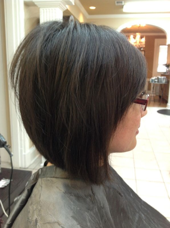 Medium Layered Inverted Bob Google Search Bangs With Glasses