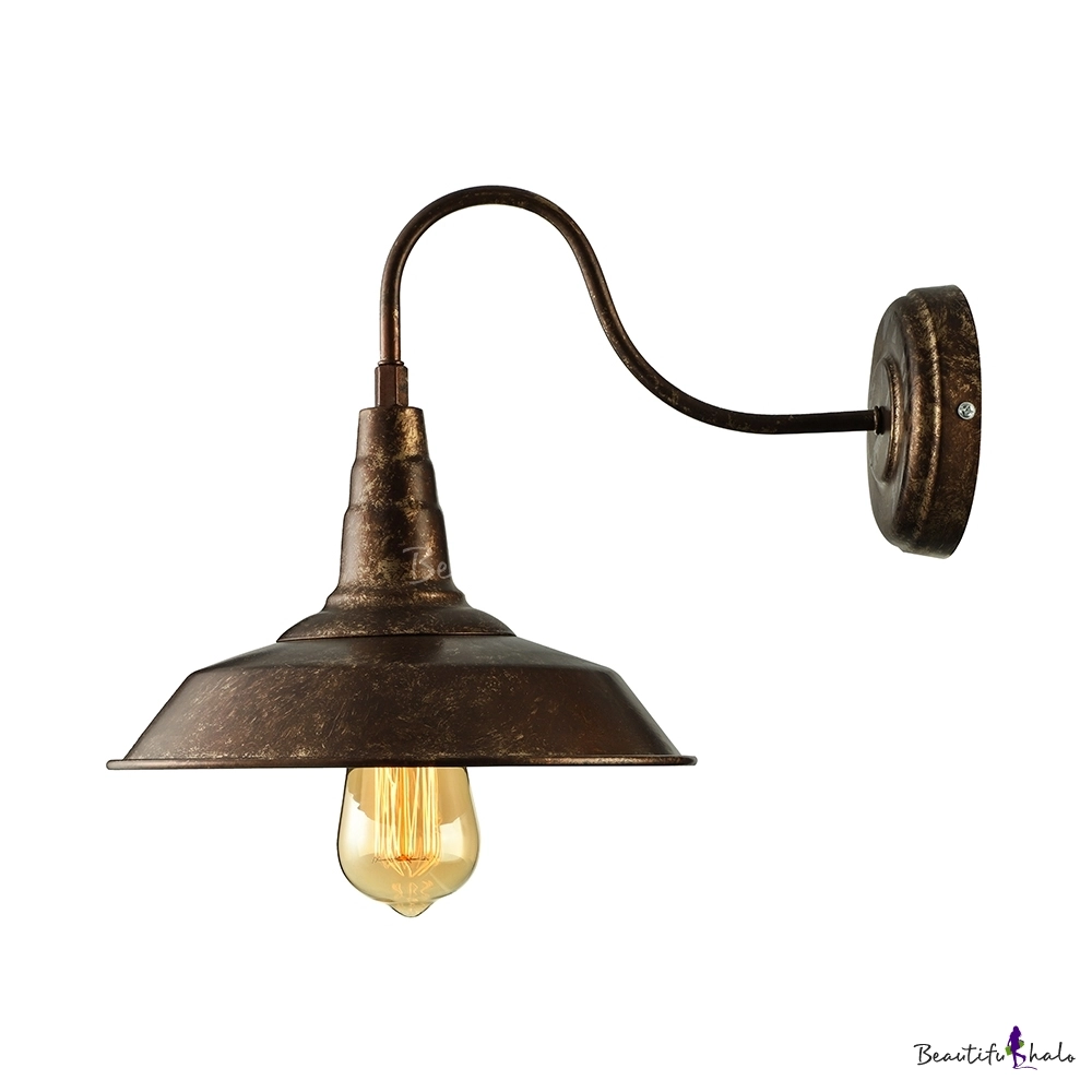 Industrial Gooseneck Barn Wall Sconce In Rust Single Light Wall Mount Wall Lights Wall Sconces Sconces