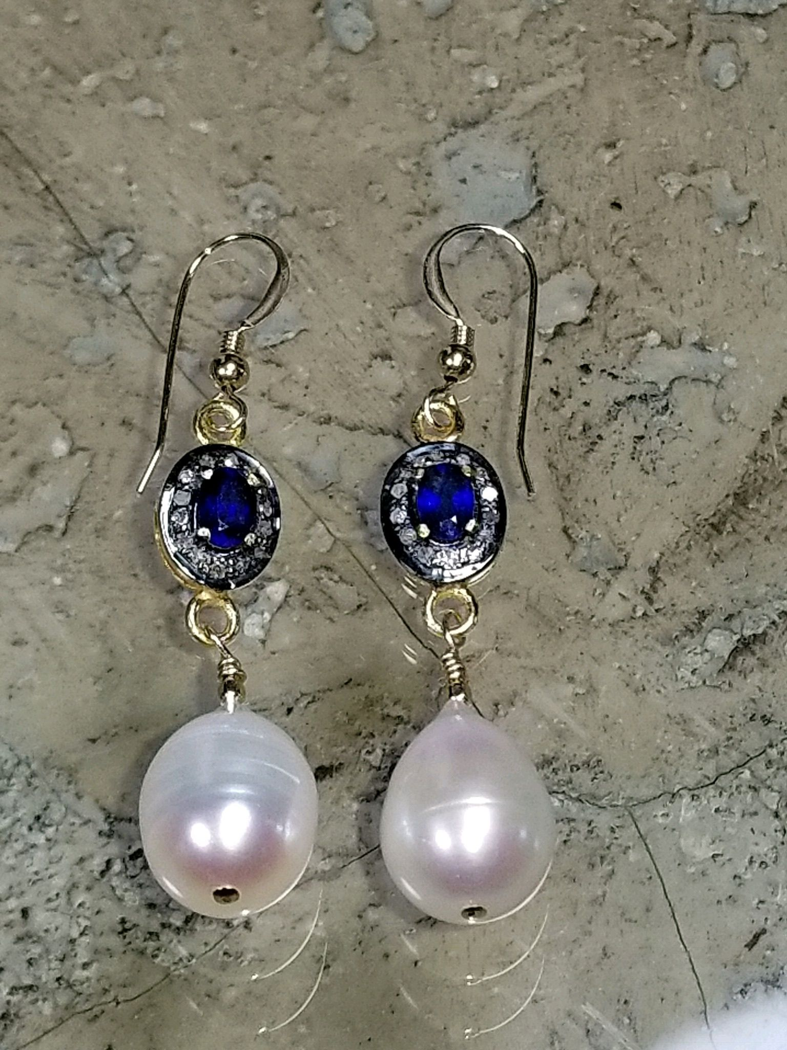 4865523c5 Stunning sapphire, diamond and freshwater pearl drop earrings. Earrings  have a 2 inch drop