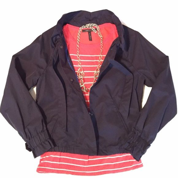 gap | ruffle collar bomber, navy. this cute little, light-weight bomber is perfect for spring and summer and has a lovely feminine touch with a cinched collar and sleeves. it is in excellent condition. worn twice. see picture above for additional details. (striped coral top pictured is also for sale). GAP Jackets & Coats