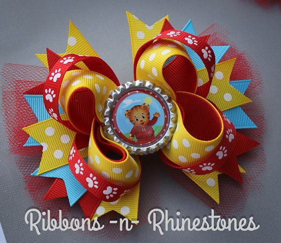"5/"" Daniel Tiger Stacked Boutique Hair Bow Handmade"