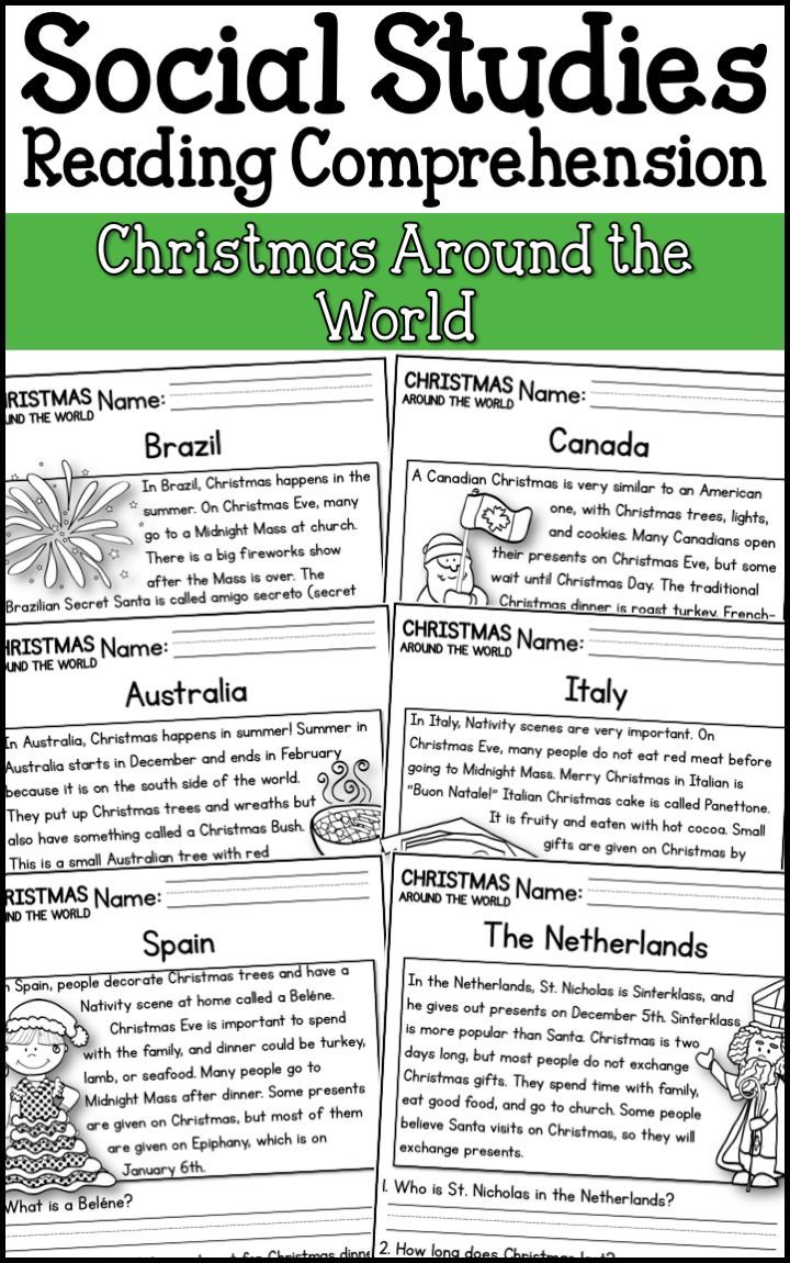 - Christmas Around The World Reading Comprehension Passages (K-2