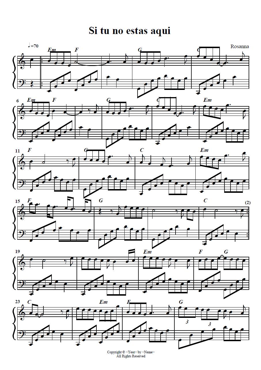 Si Tu No Estas Aqui Rosana Piano Cover Arreglos Pablo Mancini Partituras Partituras Para Piano Sencillas Balada Para Adelina