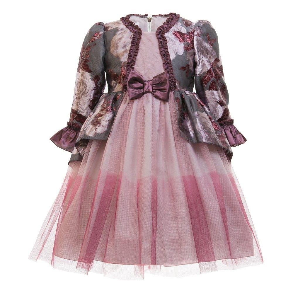Burgundy metallic jacquard u tulle dress tulle dress kid clothing