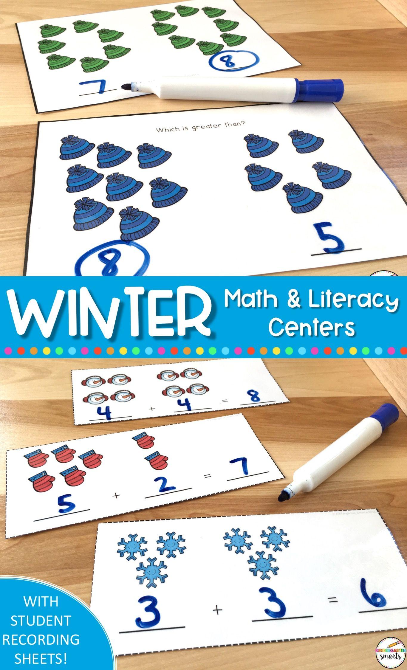 Winter Math And Literacy Centers Kindergarten