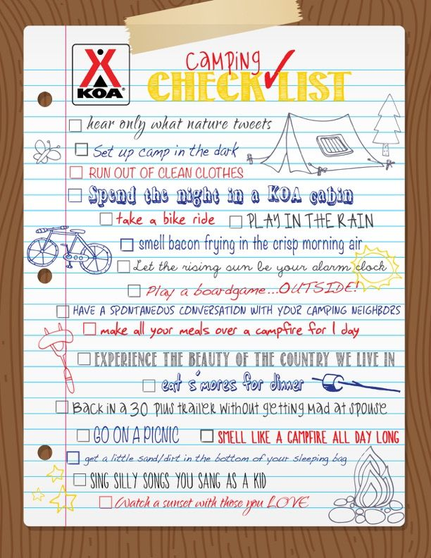 Our Fun Camping Check List  Camping Checklist Camping Check Lists