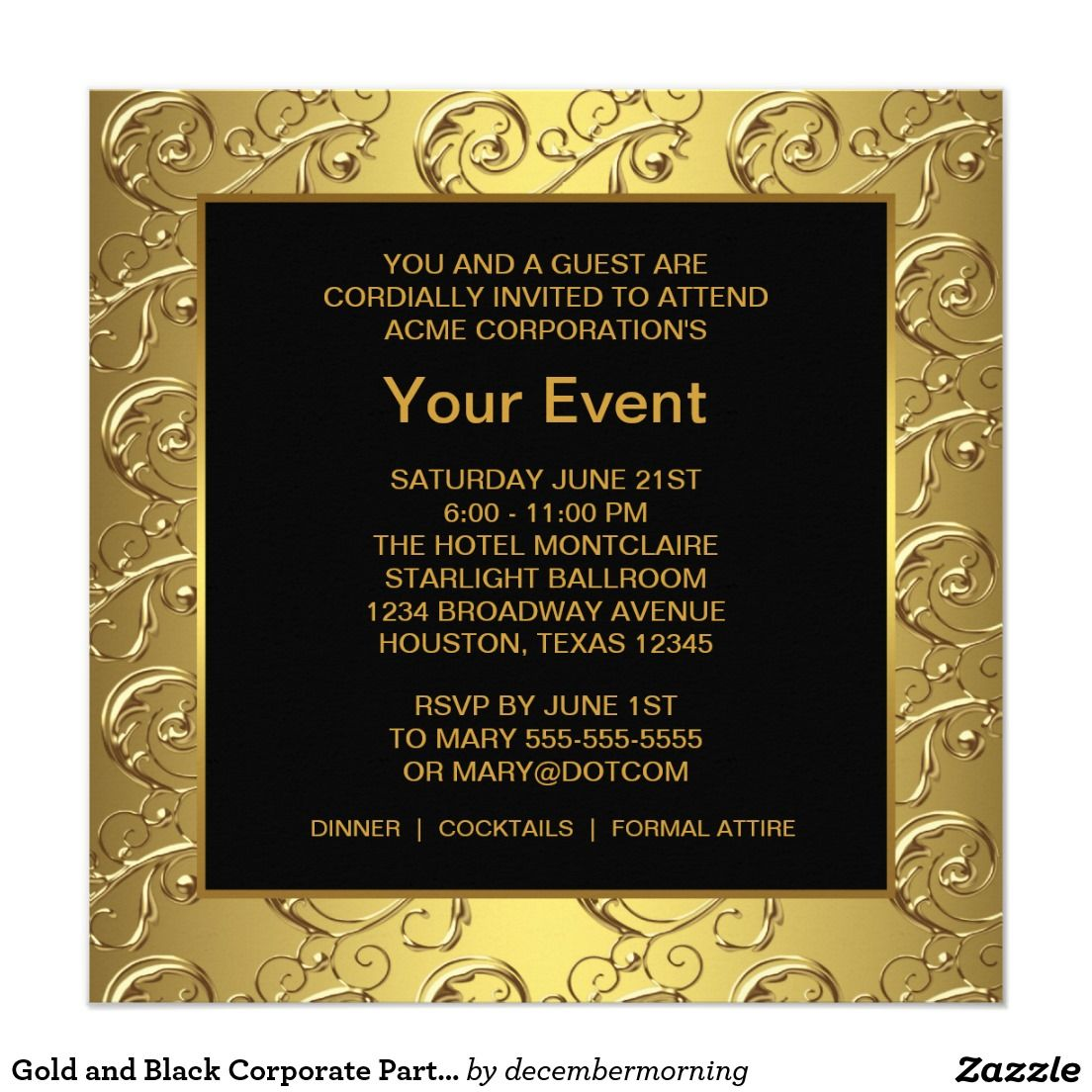 Gold And Black Corporate Party Event Invitation Zazzle Com Event Invitation Corporate Party Invitation Personalised Party Invitations
