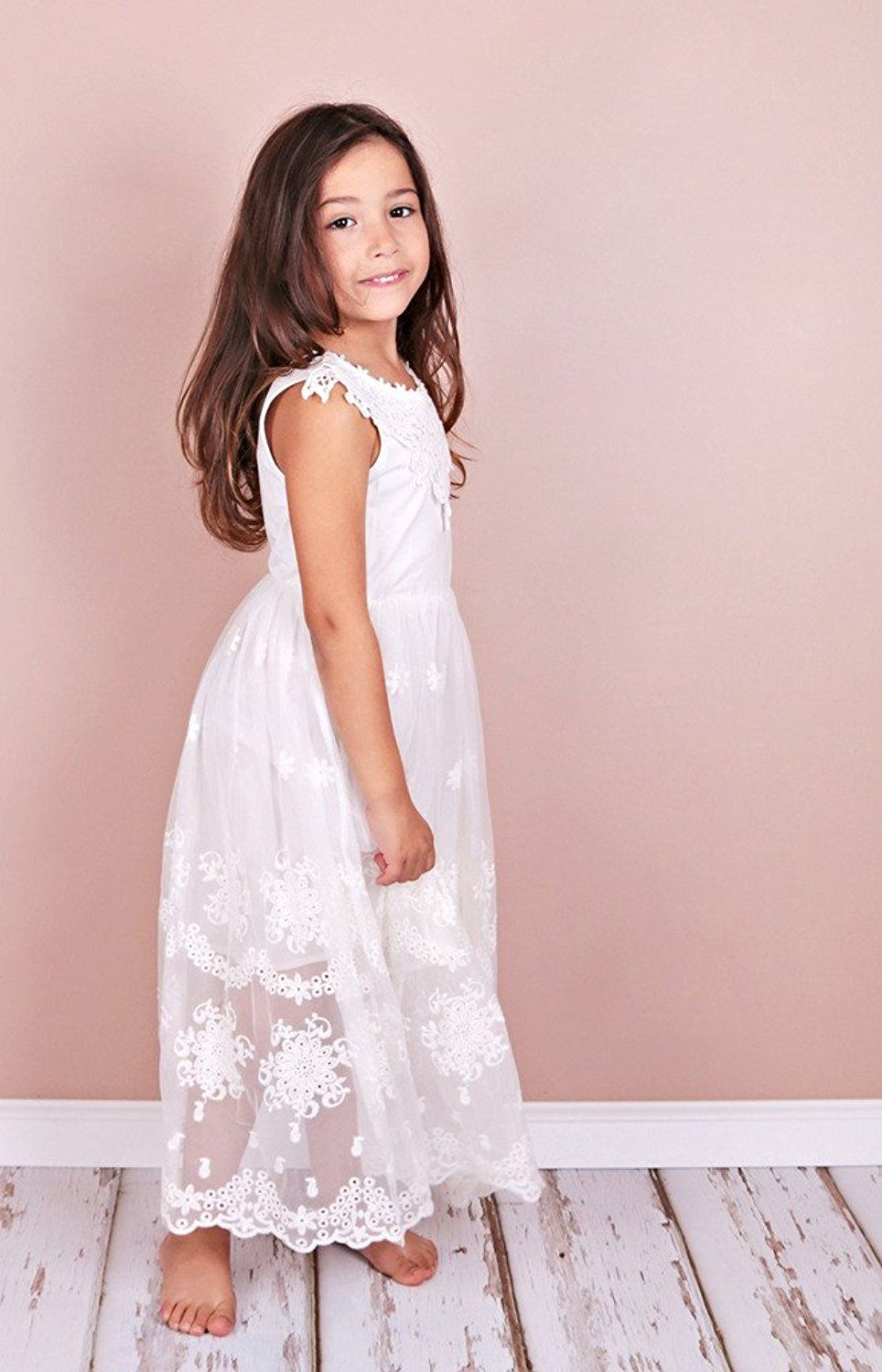 Amazon.com: Bow Dream Flower Girl\'s Dress Vintage Lace: Clothing ...