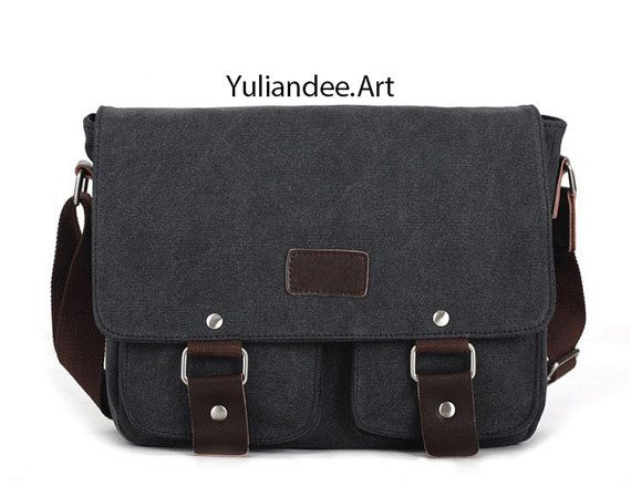 fd2a6c4f8e Canvas leather messenger bag casual Laptop by Yuliandeeart on Etsy. Eshow  Men s Casual Canvas Crossbody ...