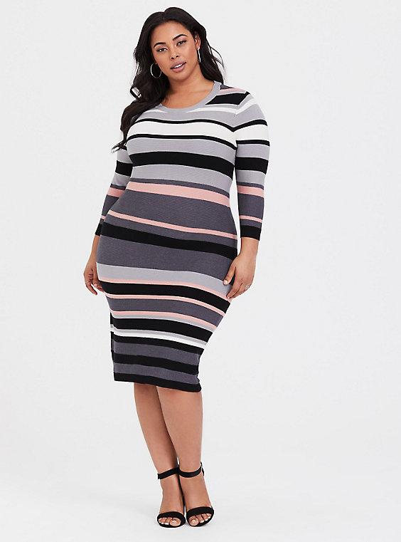 392576e9118 Multi Stripe Midi Sweater Dress in 2019