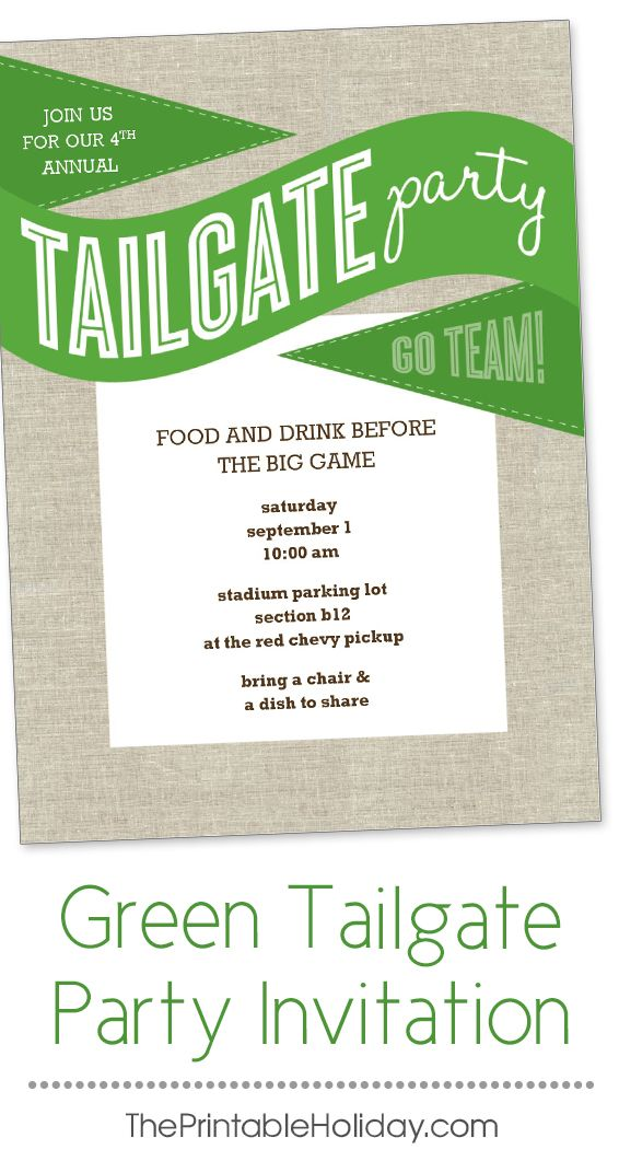 This tailgate party invitation template features green flags and a - bus ticket template