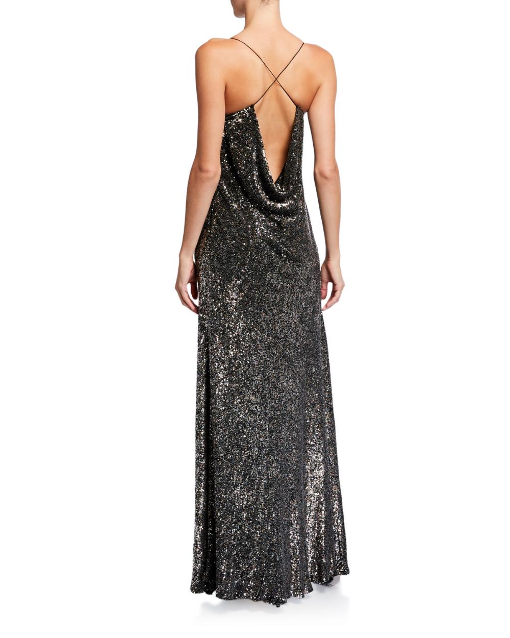 Elie Tahari Jazzie Metallic Cowl Neck Sleeveless Gown Metallic Cocktail Dresses Sleeveless Gown Camisole Dress [ 1250 x 1000 Pixel ]