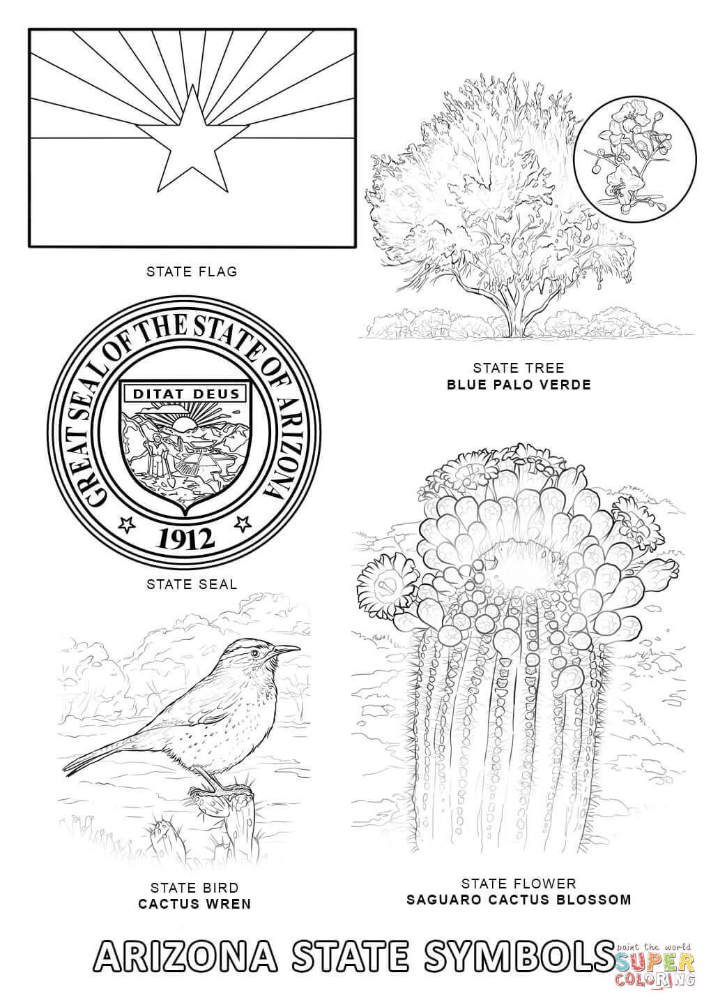 Arizona State Flower Coloring Page Di 2020