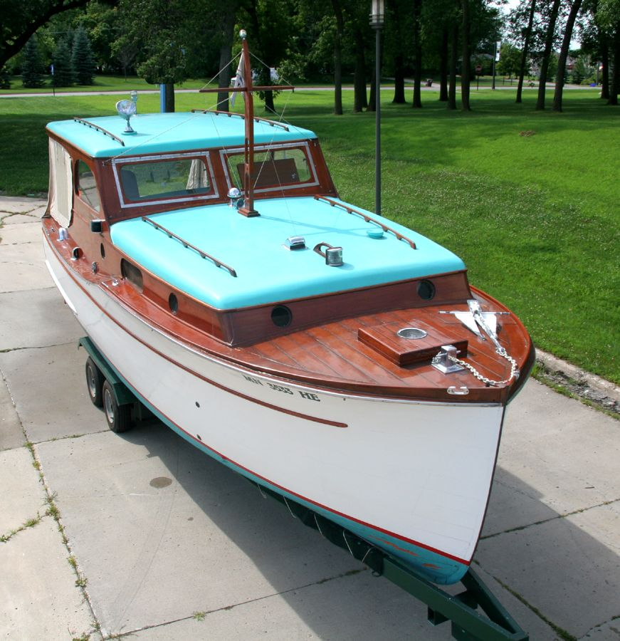 Starboard Side Of 28' Chris Craft Classic Wooden Cabin