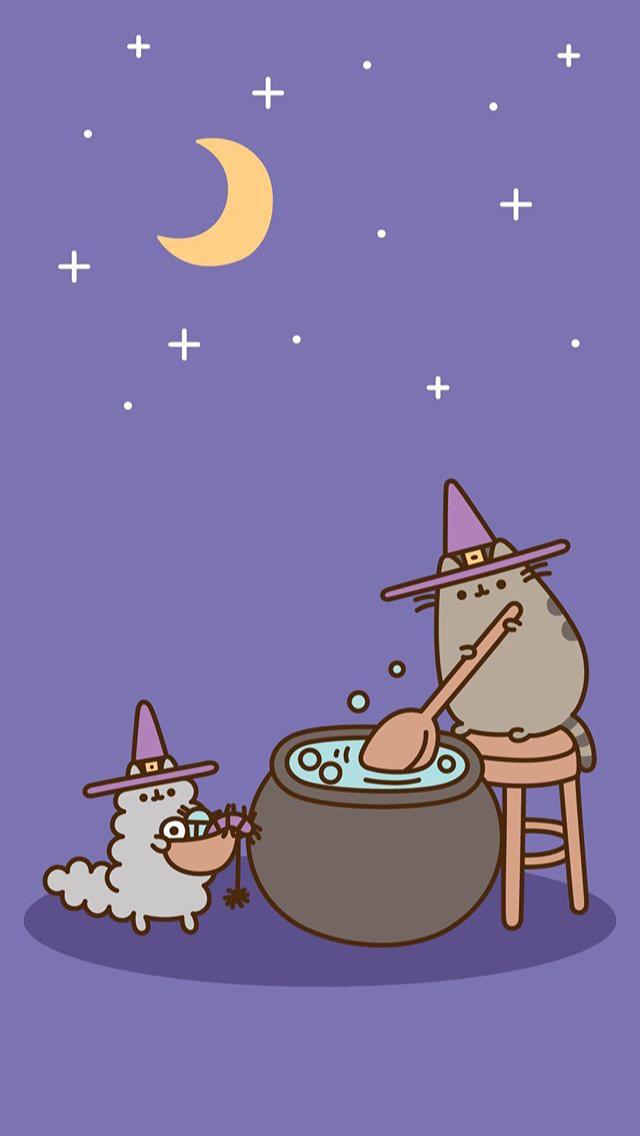 Halloween Pusheen Background Phone Wallpaper Pusheen Pusheencat Cat Pip Stormy Halloween Background Wallpaper Pusheen Cute Witch Wallpaper Pusheen Cat